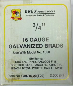 "Picture of GREX Galvanized Brad Nails for 16 Gauge (3/4""Length)"