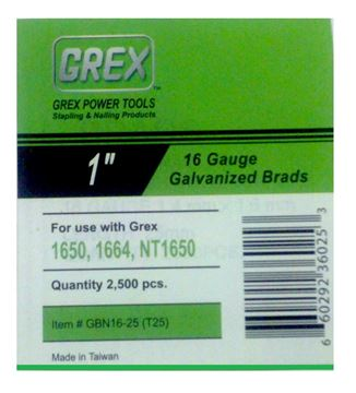 "Picture of GREX Galvanized Brad Nails for 16 Gauge (1"" Length)"