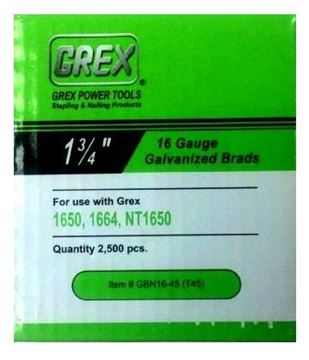 "Picture of GREX Galvanized Brad Nails for 16 Gauge (1-3/4"" Length)"