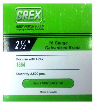 "Picture of GREX Galvanized Brad Nails for 16 Gauge (2-1/2"" Length)"