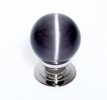 "Picture of 1 1/5"" Cat's Eye Glass Grey Smooth Round Knob"