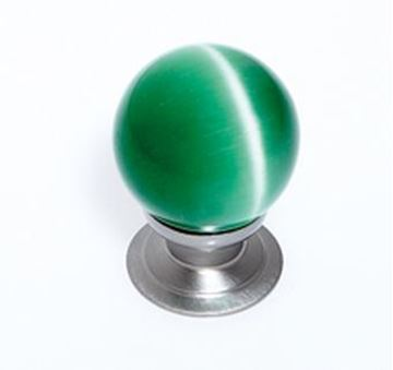 "Picture of 1 1/5"" Cat's Eye Glass Green Smooth Round Knob"