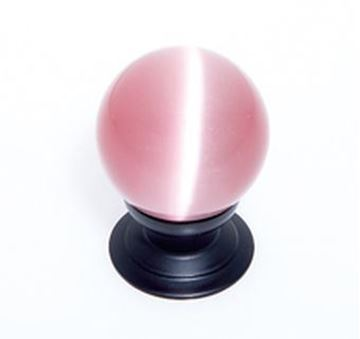 """Picture of 1 1/5"""" Cat's Eye Glass Pink Smooth Round Knob"""