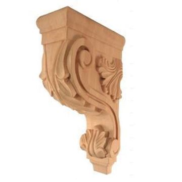Picture of Unfinished Acanthus Bar Bracket Rubberwood (CORBEL-A-4-RW)